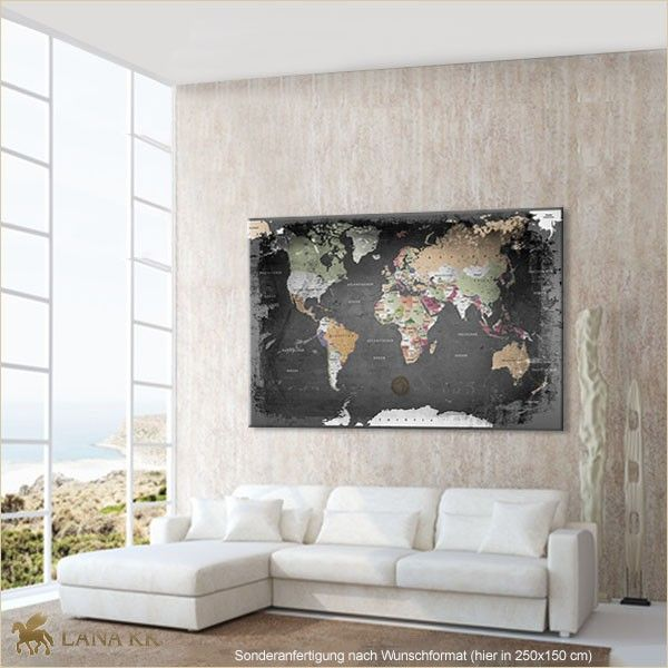 Leinwand Weltkarte Graphit