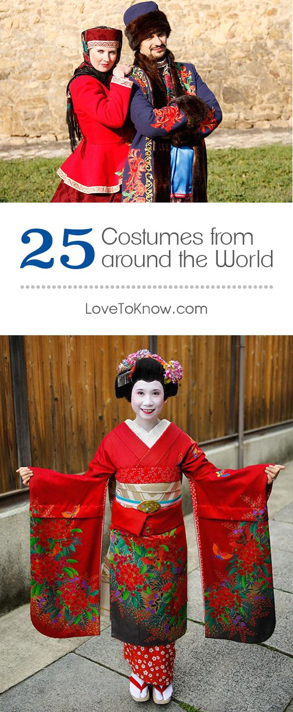 Aren't these 25 national costumes from around the world beautiful? Perfect for Halloween, ethnic festivals or honoring your cultural roots.