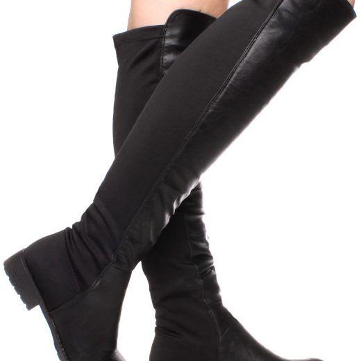 Elastické čižmy nad kolená Black Matt  fec7c99b844