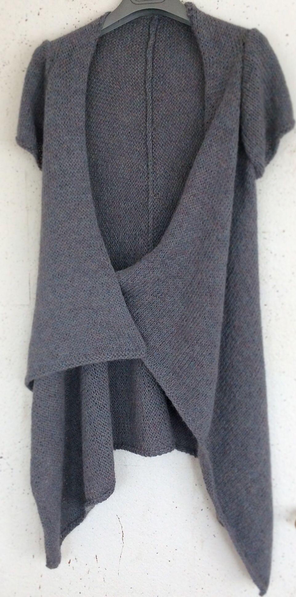 Drops design veste alpaca bleu jean. Réalisation et photo par Frédérique Richartz.
