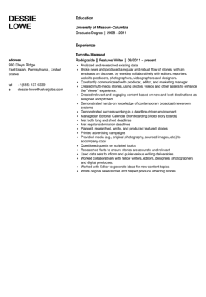 Features Writer Resume Sample Resume Writer Feature