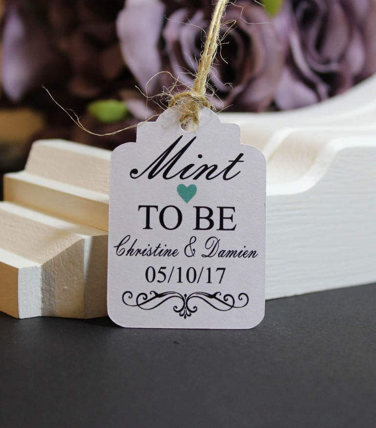 25 Personalised Handmade Wedding Gift Tags Mint To Be Favour Vintage Luggage Style Brown Card Supplied With Twine TGS1