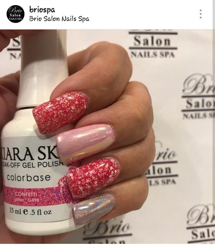 Kiara Sky gel polish in Confetti with Unicorn chrome   Nails I\'ve ...