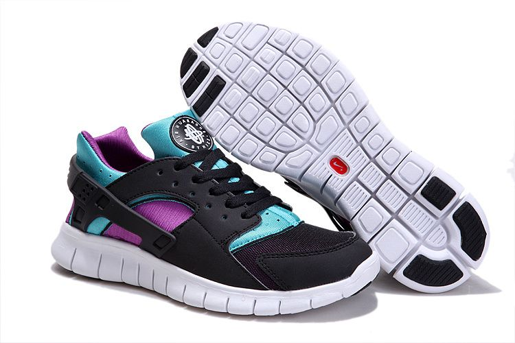 Black Black Turquoise Blue Magenta Nike Huarache Free Run Men's Shoes