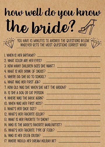 How Well Do You Know Her, Bridal Shower Games Printables, Bridal Shower Game Idea, Bridal Shower Instant Download, Wedding Game, Kraft Paper