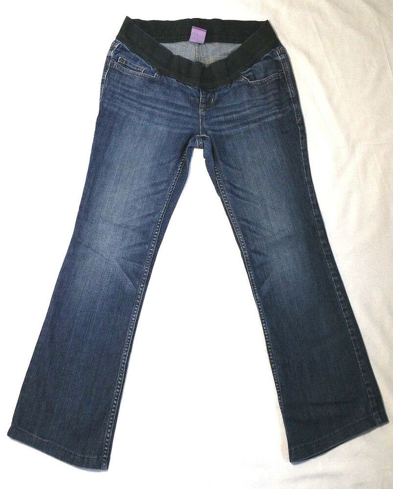 8c57fa147cc5f Old Navy Women Maternity Jeans Low Rise Boot Cut Knit Panel Denim Blue Size  2 #OldNavy #BootCut