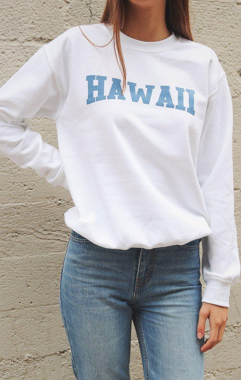 Hawaii Sweatshirt White Crewneck Sweatshirt Outfit Crewneck Sweatshirt Women Sweatshirt Outfit [ 1263 x 800 Pixel ]