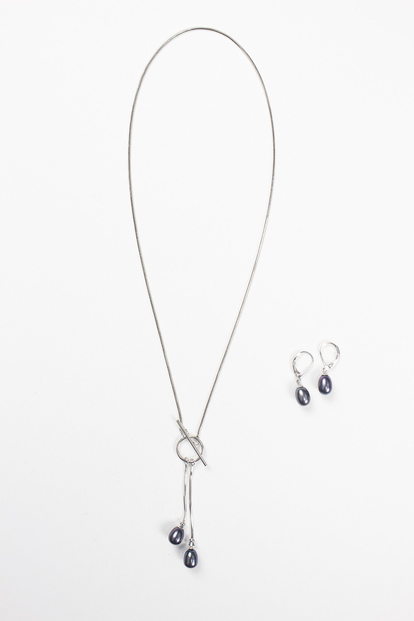 Sterling Silver Drop Pearl Dangle with Center Piece Toggle (Indigo)