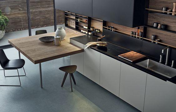 Cucina in acciaio e legno con penisola phoenix by varenna by