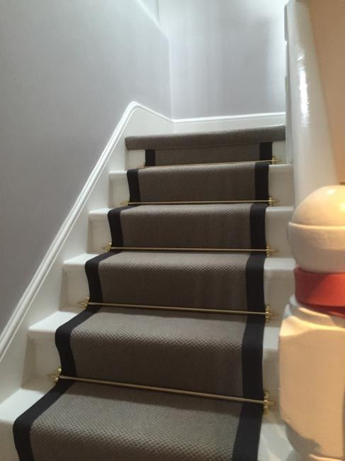 Grey Carpet with Black Border and Golden Stair Rods to ...
