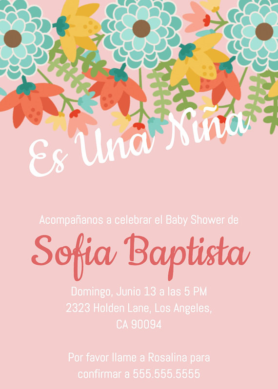 Es Una Nina Invitacion Baby Shower Invitation Invite Template