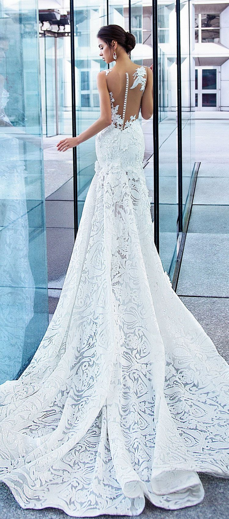 Sleeveless 3d florals applique covering the bra-caps fully embellishment fit and flare wedding gown chapel train #weddingdress #wedding #weddinggown