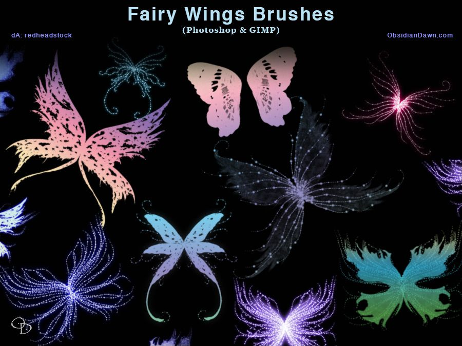 Fairy Wings Photoshop And Gimp Brushes By Redheadstock Gimp Brushes Photoshop Pixies Fairies