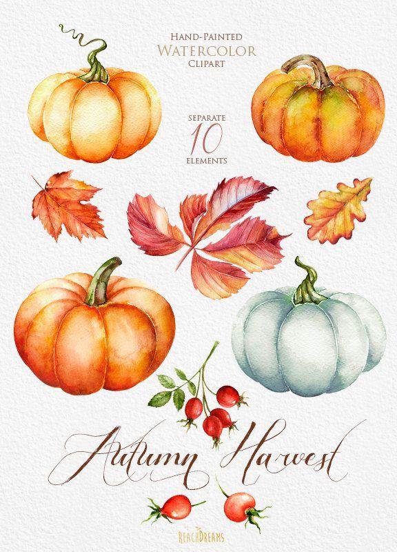 Pumpkin watercolor clipart, Halloween, Autumn, Briar, Yellow Leaves ...