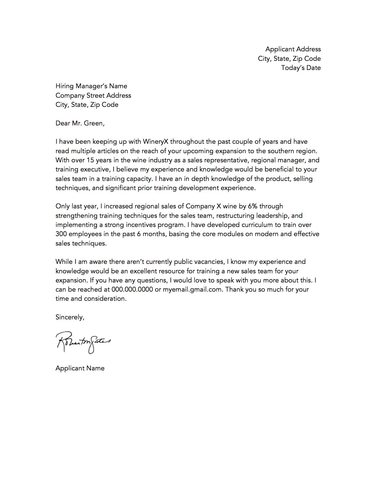 job covering letter