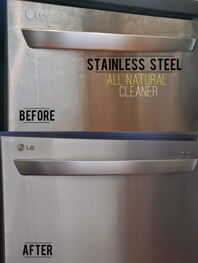Image of before and after showing a streak free finish with a natural cleaner on stainless steel appliances.