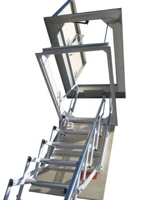Elegant escalera plegable tipo tijera para techo aerplus escaleras plegables altillo y - Escalera plegable altillo ...