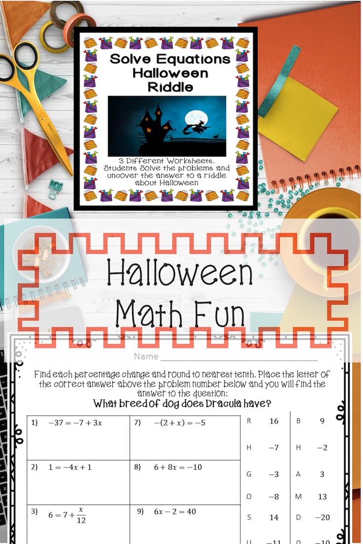 Solving Equations Halloween Riddle Fun halloween math