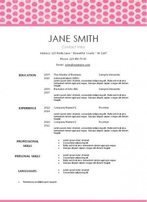Free Printable Pretty Pink Resume Template That Can Be Edited
