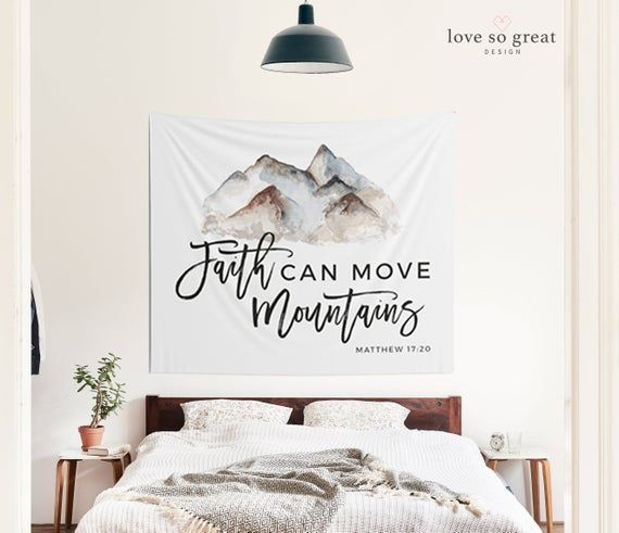 Wall Tapestry Dorm Decor Faith Can Move Mountains Tapestry | Etsy