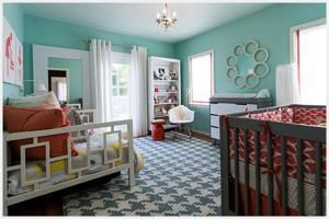 Love a good surprise? Don't let the need for a neutral nursery spoil the fun! Create a gender-neutral look you'll love with a fresh and fashionable new palette.: Aqua & Coral