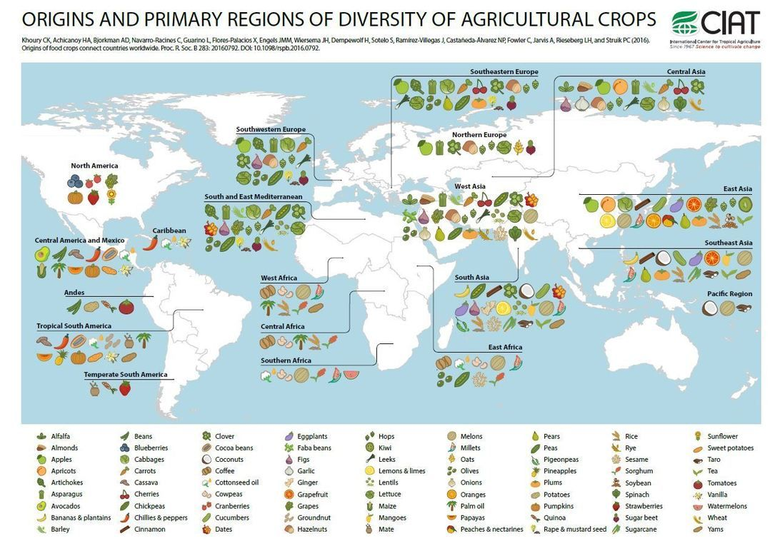 """Explore the geographic origins of our food crops where"