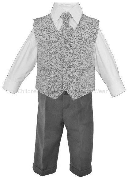 9631ccde2 Baby Boys Grey Swirl 4 Piece Suit