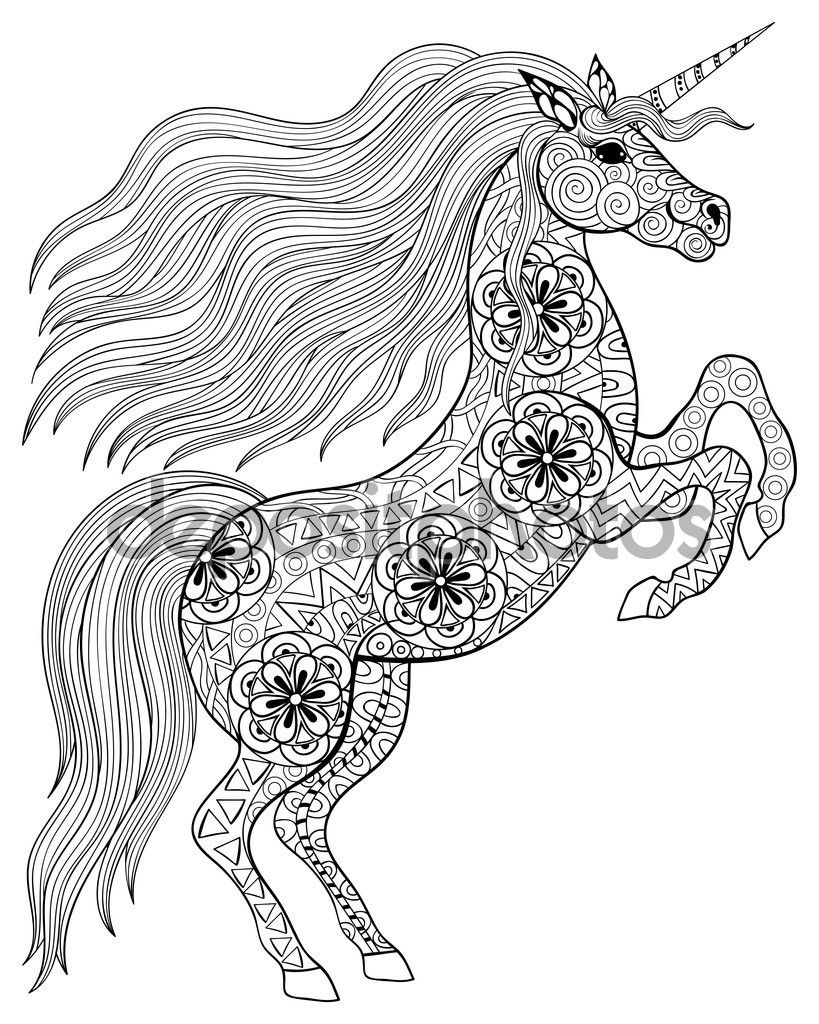 Coloring Pages For Adults Unicorns - Hand drawn magic unicorn for adult anti stress coloring page wit ilustraci n de stock
