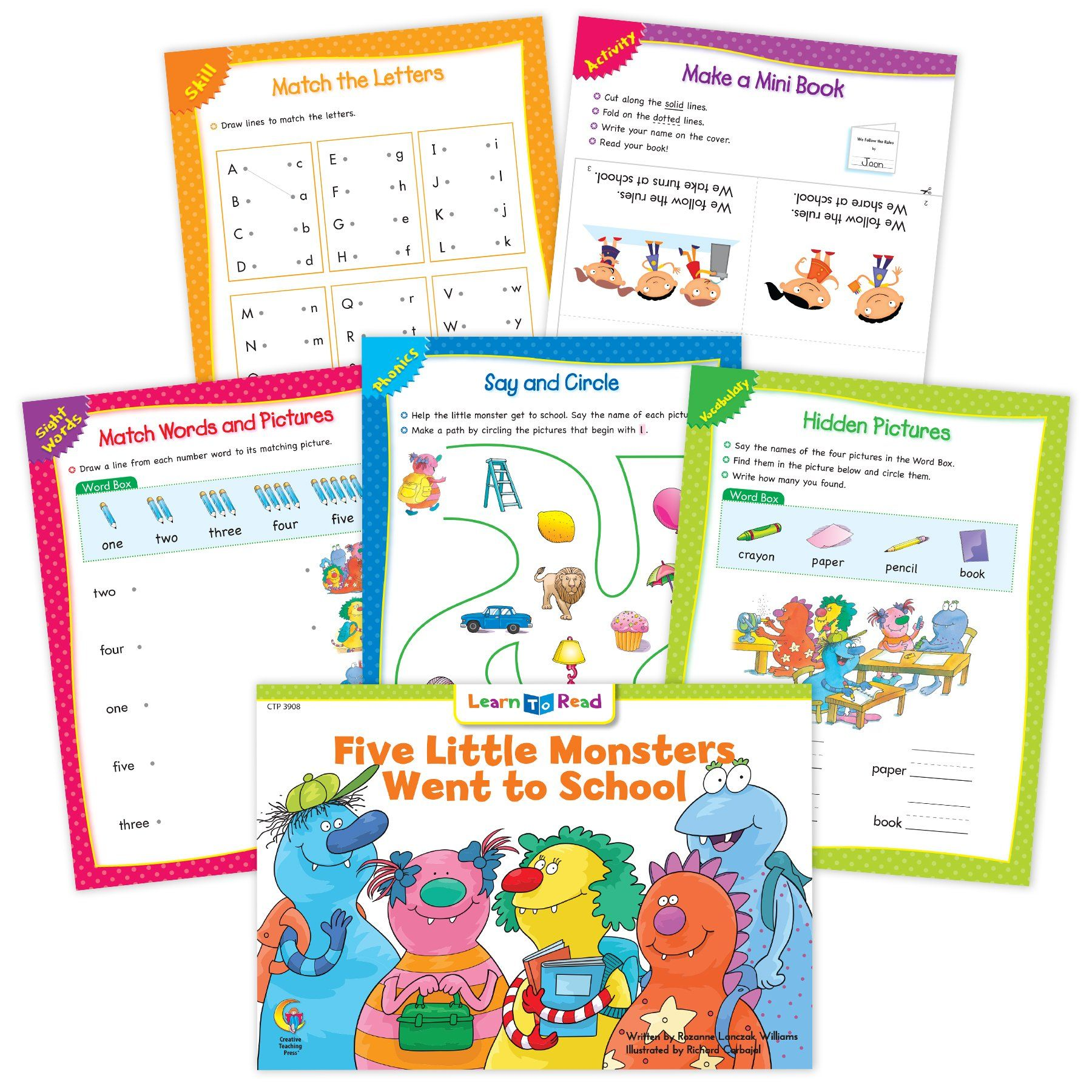 Five Little Monsters Ebook Amp Worksheets In