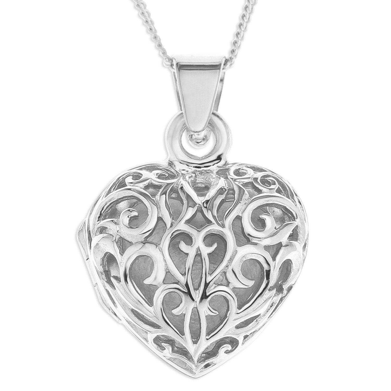 Ornami ladies silver filigree heart locket with 46 cm curb ornami ladies silver filigree heart locket with 46 cm curb sterling silver chain mozeypictures Choice Image
