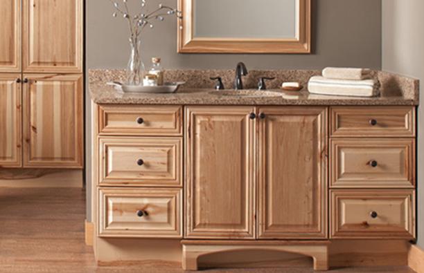 Natural Hickory Raised Panel Doors Semi Custom Bathroom Cabinets