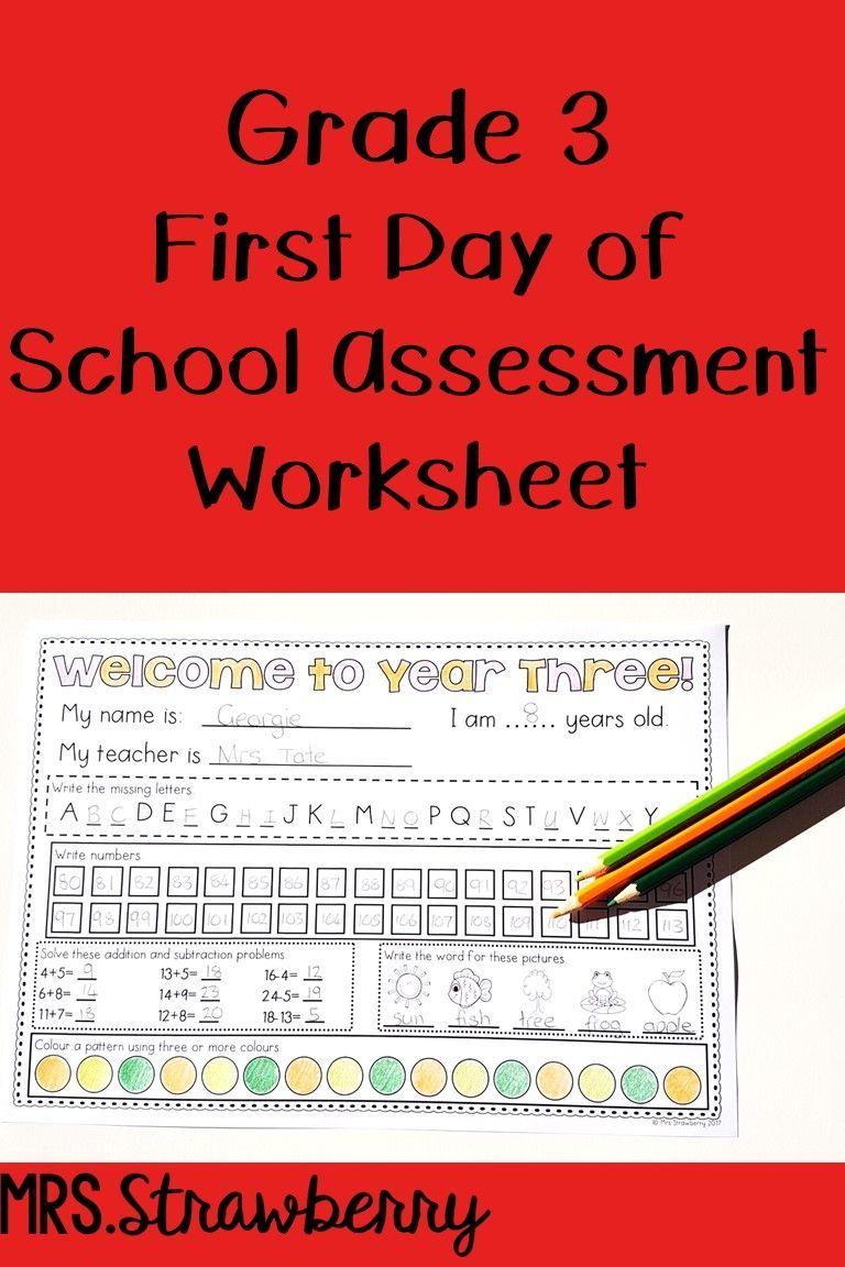 First Day Of School Assessment Worksheet Grade 3 Math Assessment Third Grade First Day Of School Phonics Assessments