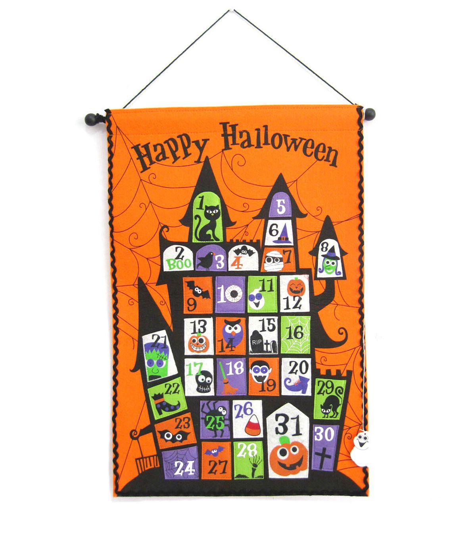 maker u0027s halloween fabric countdown calendar halloween wall decor