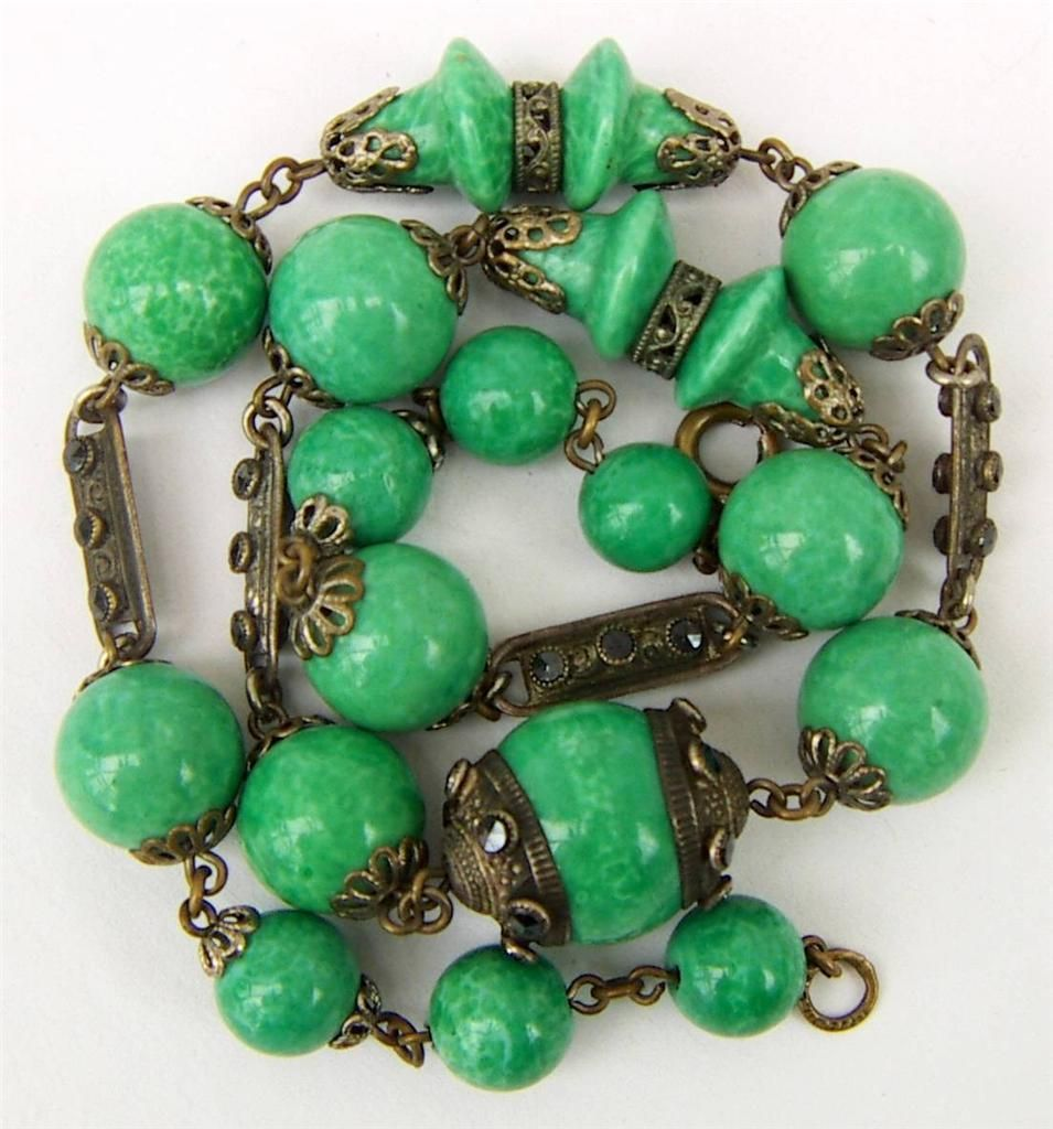 Vintage Czech Bohemian Art Deco Peking Glass Bead and Marcasite Necklace Signed   eBay