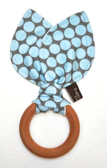 Bunny Ear Wooden Teether / Wooden Teething by BugalooBabyDesigns