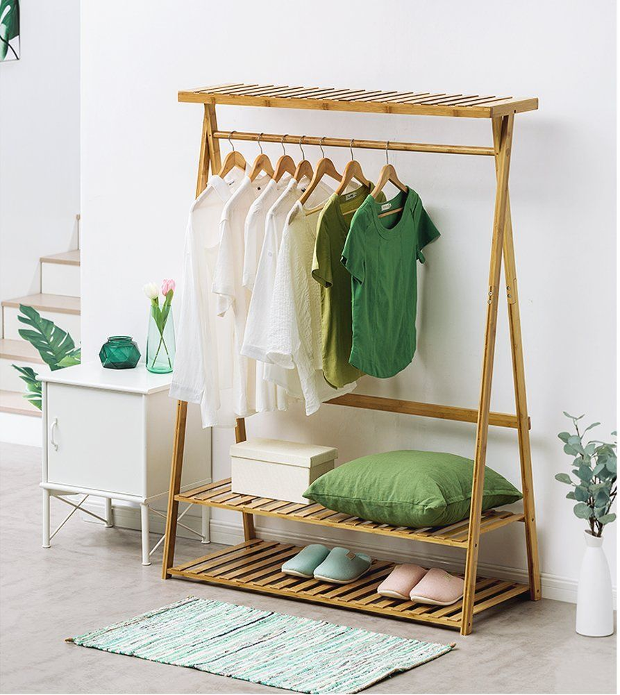 Amazon Com Bamboo Garment Coat Clothes Hanging Heavy Duty Rack With Top Shelf And 2 Tier Sh Clothing Rack Bedroom Furniture Details Design Wooden Clothes Rack