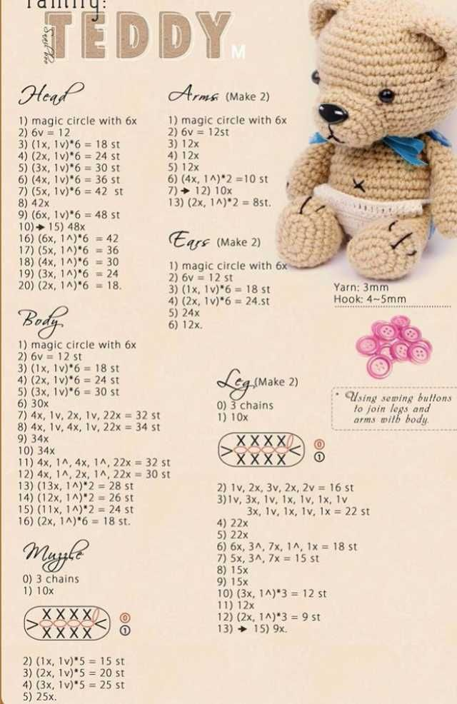Crochet teddy bear free pattern | FREE Amigurumi ♥ Crochet Patterns ...