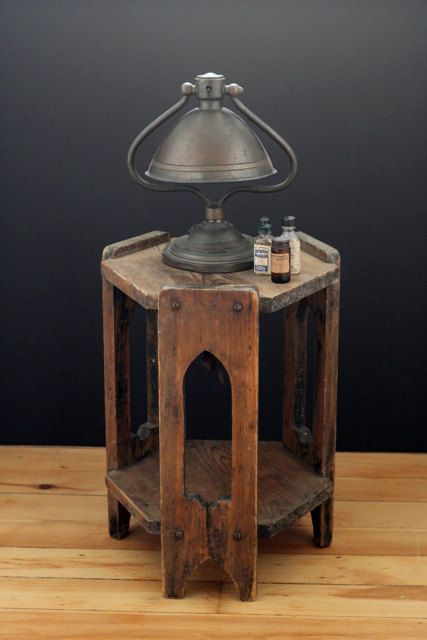 Antique Arts and Crafts Side Table. Very interesting looking hexagonal side table. I like the way it has a lip & although its made from quite thick material it still has an airy nature to it as well. A very attactive piece ;)