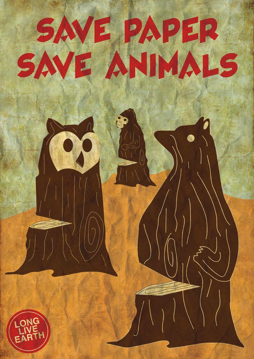 'save paper, save animals' by nigel tan endangered species