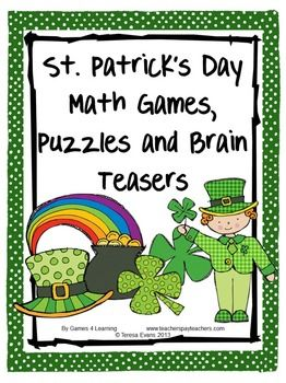 St. Patrick's Day Math Games, Puzzles and Brain Teasers is from Games 4 Learning. It is loaded with St. Patrick's Day math fun. $