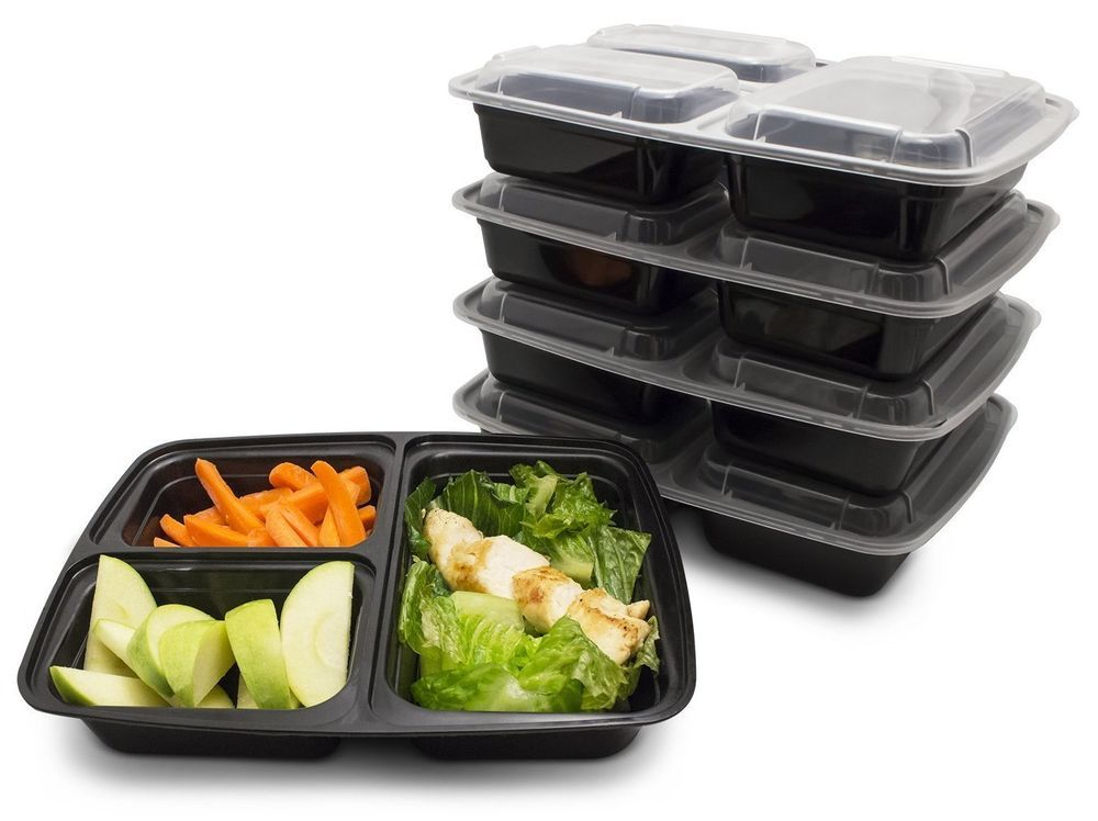 Food Prep Containers 3 Compartment 10 Pack BPA Free Meal