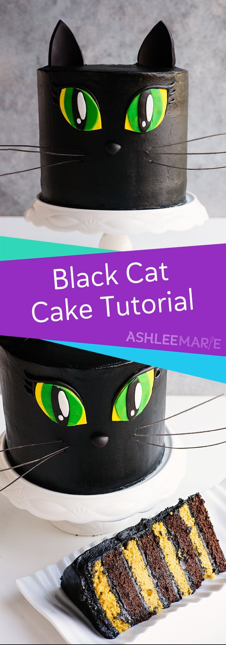 Black Cat Cake Video Tutorial - with Pumpkin and Chocolate Cake recipes #halloweencakes