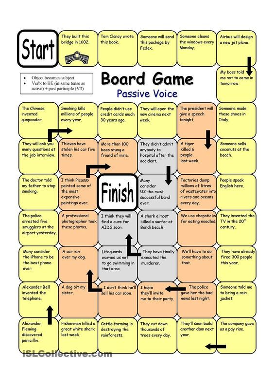 Board Game - Passive Voice worksheet - Free ESL printable worksheets ...