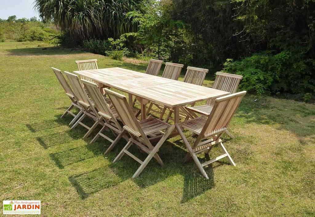 Salon De Jardin Bois Teck Table Extensible Ovale 280 Cm 10 Chaises Avec Images Meubles De Jardin En Bois Salon De Jardin Bois Jardins En Bois