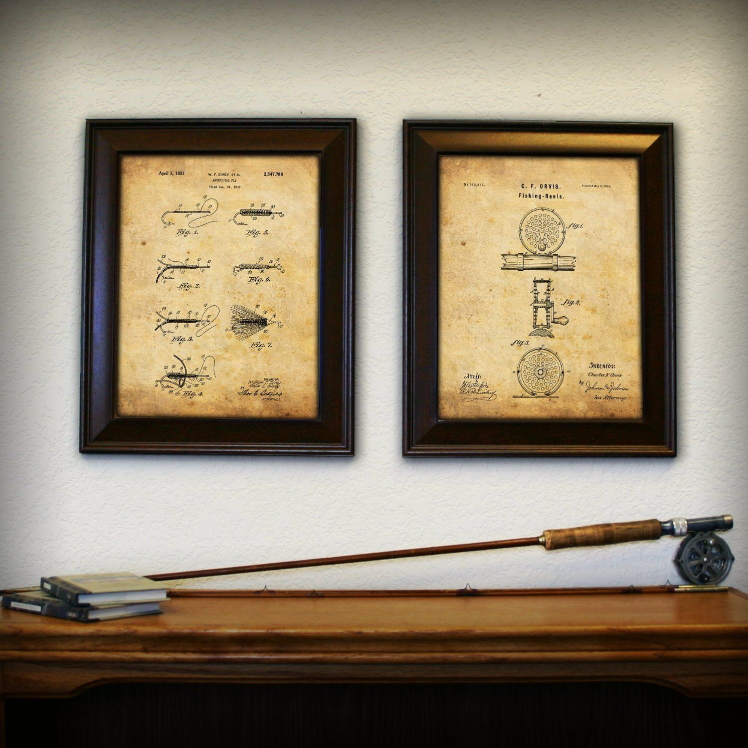 Fishing reel and fly prints made from the actual historical patents ...
