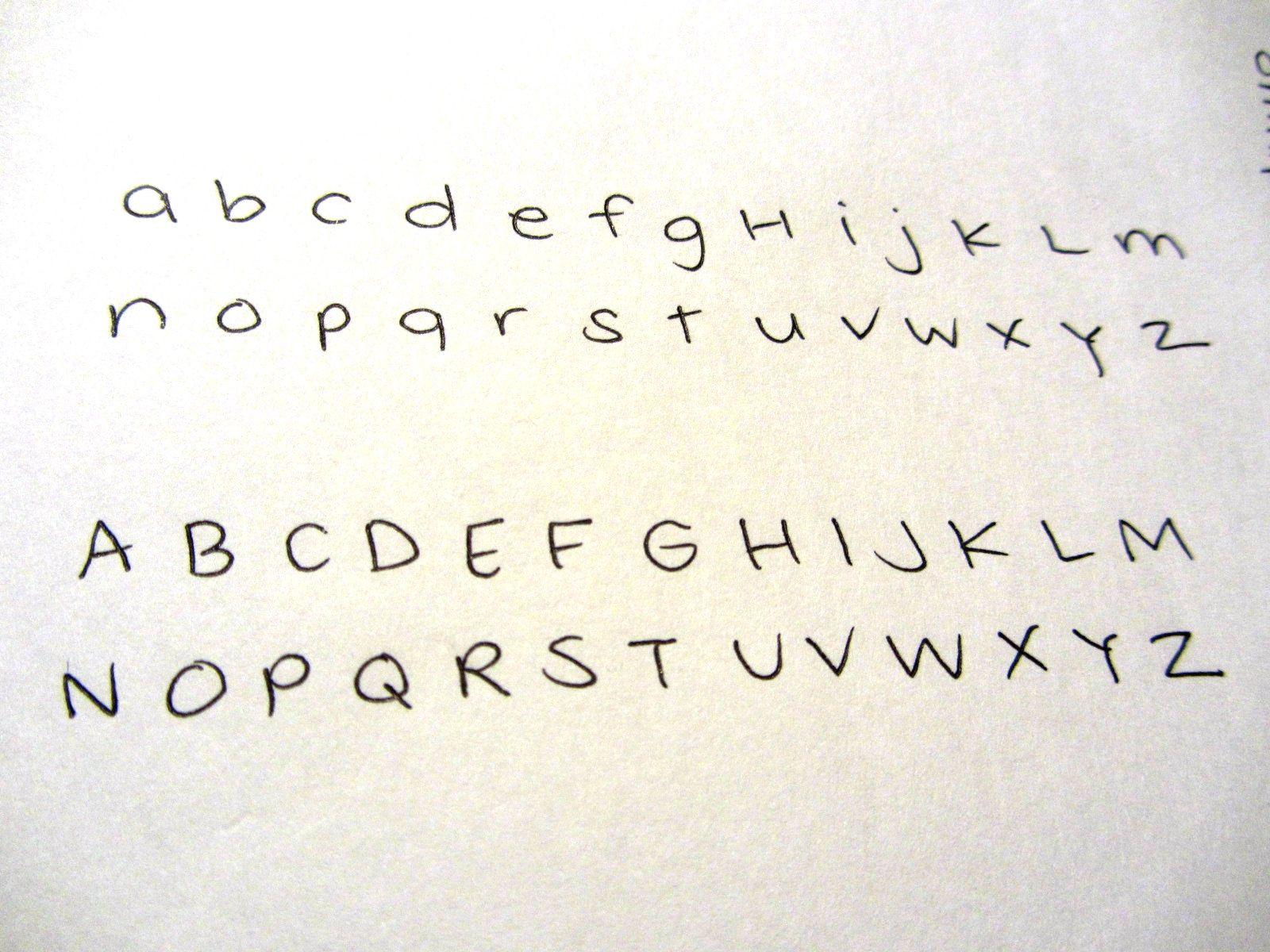 Cute girly handwriting alphabet bkmn