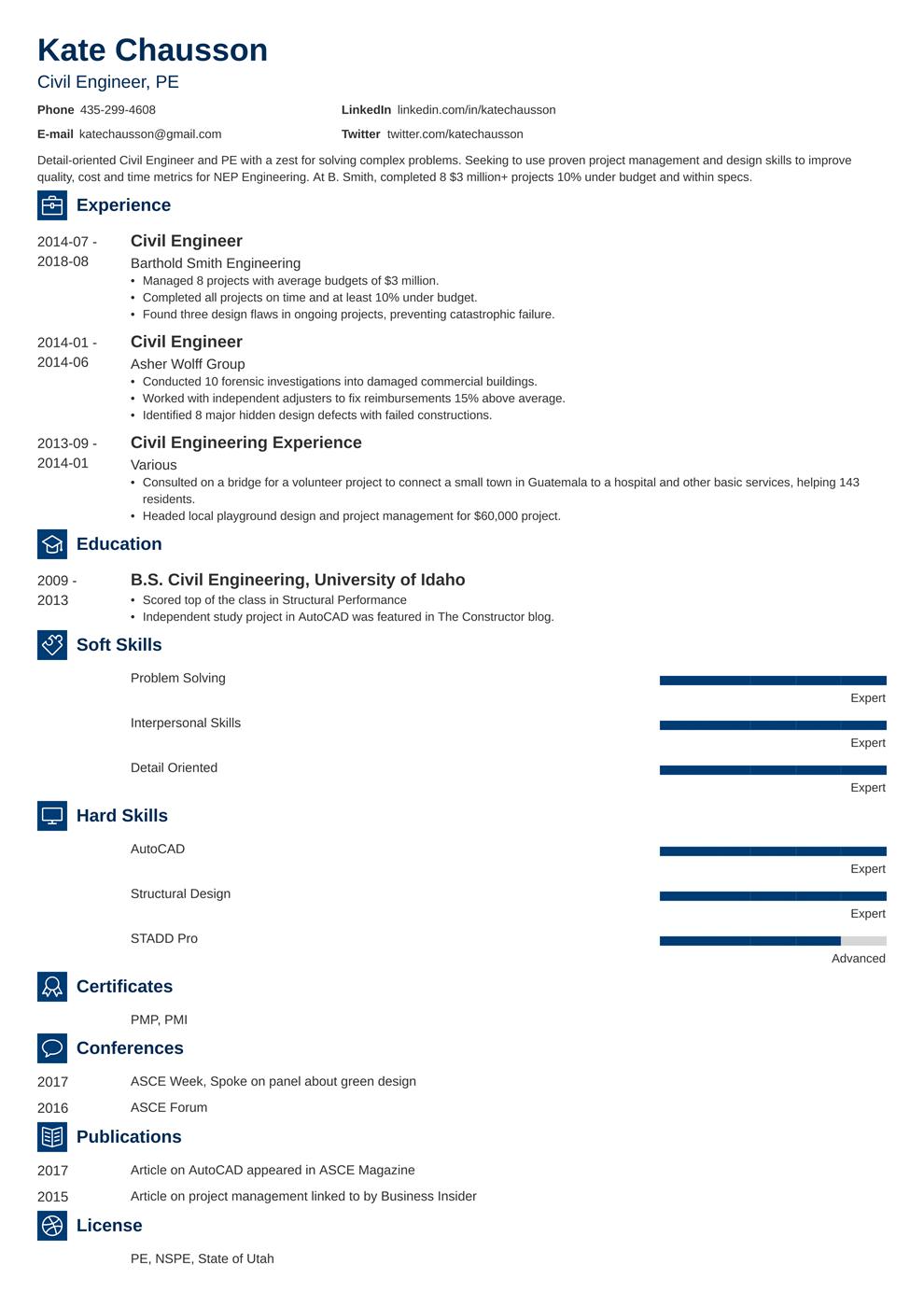 civil engineering resume template newcast in 2020 Resume