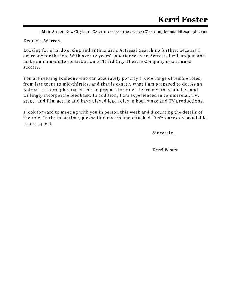 Acting Cover Letter Best Actor Actress Cover Letter Examples Livecareer Advice  Home