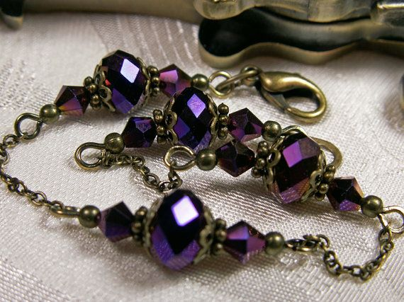 Amethyst Purple Metallic Crystal Bracelet Steampunk Jewelry Antique Vintage Victorian Bridal Style
