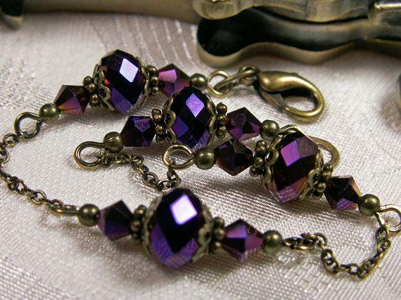 Amethyst Purple Metallic Crystal Bracelet Steampunk Jewelry Antique Vintage Victorian Bridal Style